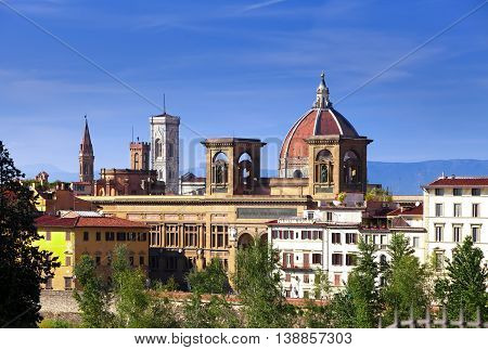 Italy. Florence. Ancient houses and Cathedral Santa Maria del Fiore