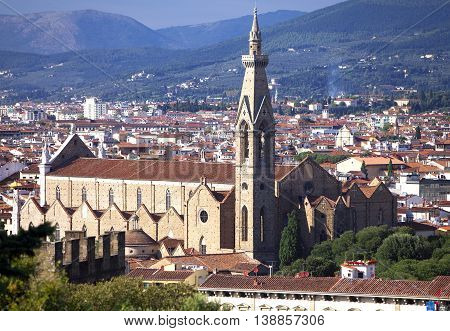 The Basilica di Santa Croce (Basilica of the Holy Cross) the main Franciscan church in Florence Italy