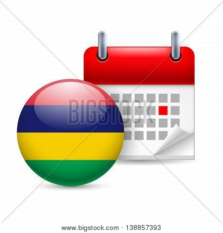 Calendar and round Mauritian flag icon. National holiday in Mauritius