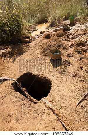 Hole dug to collect gold dust collected in Burkina Faso