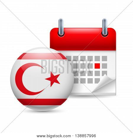 Calendar and round flag icon. National holiday in Northern Cyprus