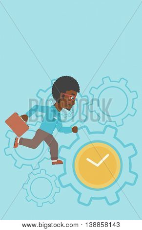 An african-american young businessman with briefcase running on a blue background with clock and cogwheels. Vector flat design illustration. Vertical layout.