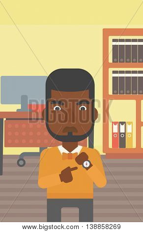 An african-american angry businessman standing in the office and pointing at his wrist watch. Concept of late to work. Vector flat design illustration. Vertical layout.