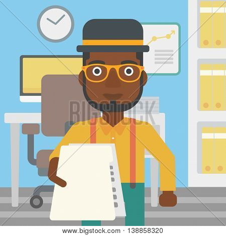 An african-american young businessman giving a resume in office. Man giving to the employer his curriculum vitae. Job interview concept. Vector flat design illustration. Square layout.
