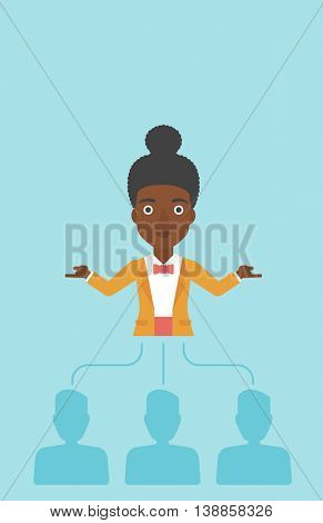 Three employees linked with an african-american business woman. Young business woman choosing employee. Concept of searching for stuff. Vector flat design illustration. Vertical layout.