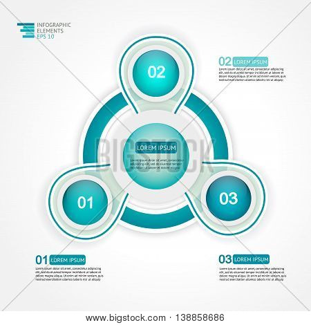 Circle 3 steps infographic design template for statistics, analytics, marketing reports, presentation and web design. Vector illustration