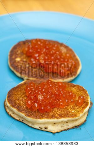 Thick Pancakes With Salmon Roe