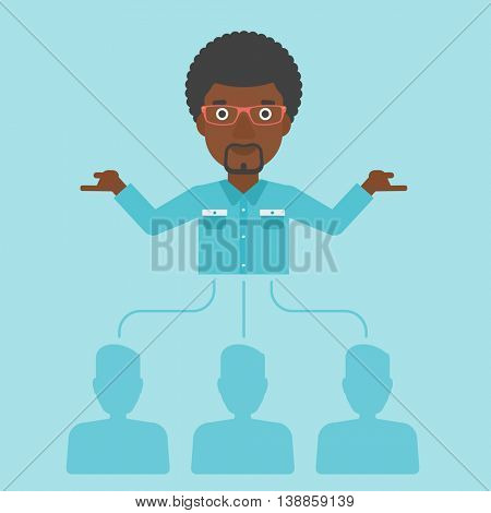 Three employees linked with an african-american businessman. Businessman with the beard choosing employee. Concept of searching for stuff. Vector flat design illustration. Square layout.