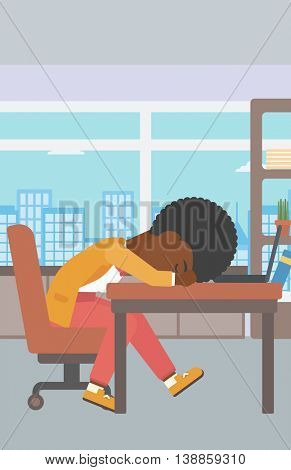 An african-american tired business woman sleeping on laptop keyboard in the office. Young business woman resting at workplace. Vector flat design illustration. Vertical layout.
