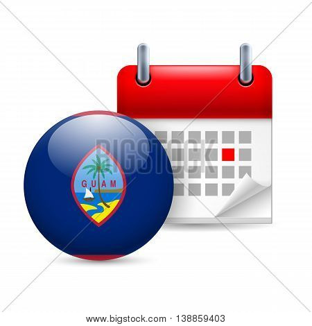 Calendar and round flag icon. National holiday in Guam