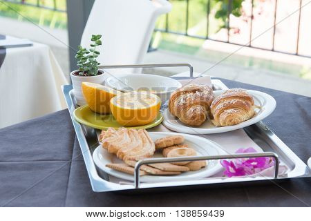 Healthy morning breakfast close-up served outdoors on the tray