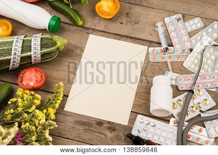 The Choice Between A Healthy Lifestyle And Medications. Vegetables Or Pills
