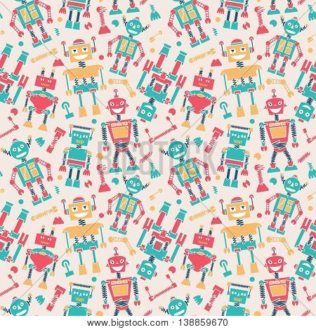 Cute retro robots colorful silhouette vector background seamless pattern