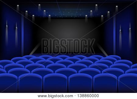 the great empty blue cinema , vector illustration .