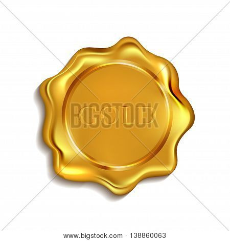 gold blank wax seal available input any text. vector illustration .