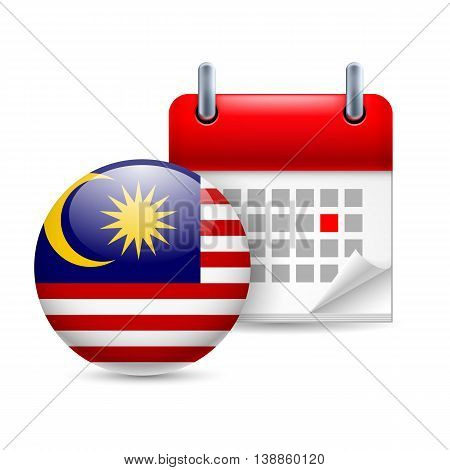 Calendar and round Malaysian flag icon. National holiday in Malaysia