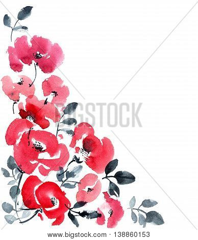 Background illustration with red flowers for greeting card or illustration. Corner composition. Watercolor and ink hand drawn painting.