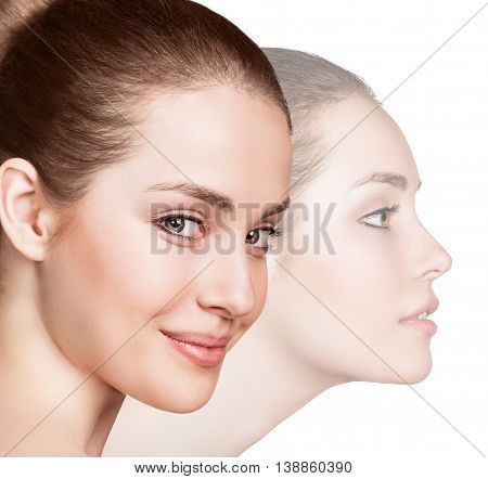 Two perfect faces of beauty girl isolated on white background