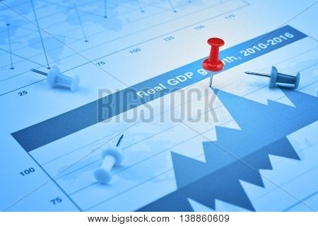 Closeup of red pin on financial graph Business success concept