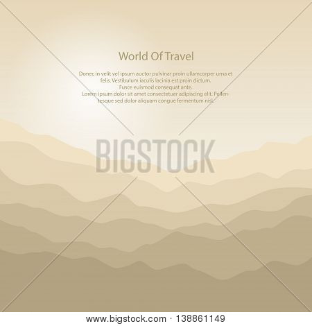 Mountain Landscape, the Silhouette of the Mountains at Sunrise and Text ,View of the Mountains in the Morning , Mountain Ranges in Shades of Yellow, Waves, Vector Illustration