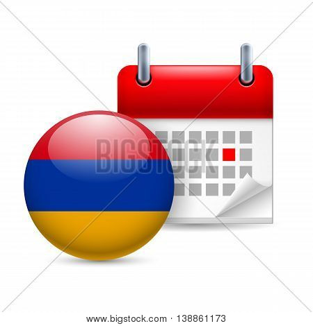 Calendar and round Armenian flag icon. National holiday in Armenia