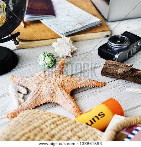 Summer Starfish Camera Vacation Holiday Trip Concept
