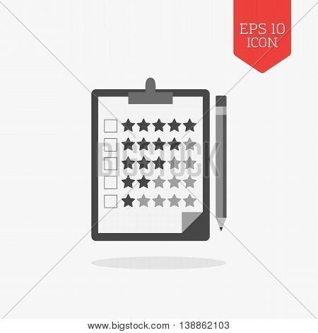 Clipboard With Rating Stars And Pencil Icon. Review Concept. Flat Design Gray Color Symbol. Modern U
