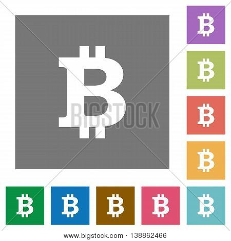 Bitcoin sign flat icon set on color square background.