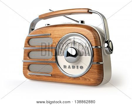Vintage retro radio receiver isolated on white. 3d illustration