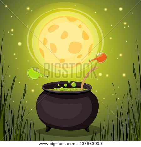 Cauldron with magical potion in a dark forest. Magic Elixir vector illustration.