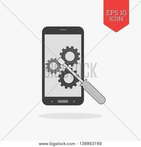 Smartphone Repair Concept Icon. Flat Design Gray Color Symbol. Modern Ui Web Navigation, Sign.