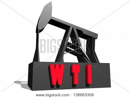 Oil pump and WTI crude oil name. Energy and power relative backdrop. 3D rendering