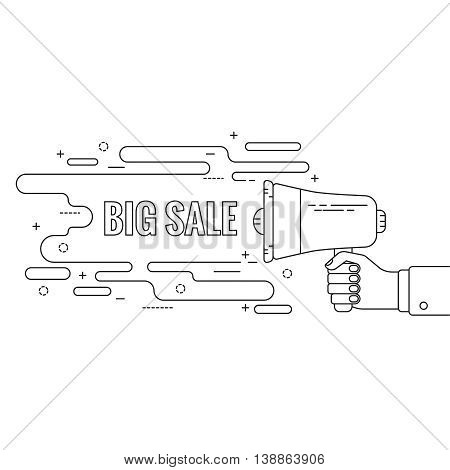 Hand holding a megaphone. Icon  loudspeaker with linear banner, text box. Notification through the speaker, advertisement bullhorn. Vector. Big sale
