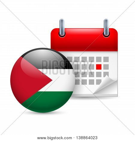 Calendar and round Palestinian flag icon. National holiday in Palestine