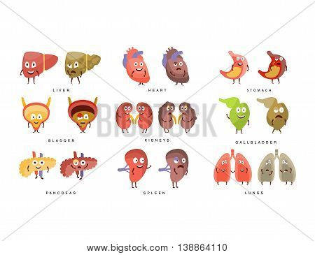 Healthy vs Sick Human Organs Infographic Illustration Set With Humanized Childish Cartoon Characters On White Background