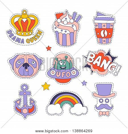 Cupcake, Dog, Rainbow And Others Bright Hipster Stickers With Outlined Border And Funny Messages