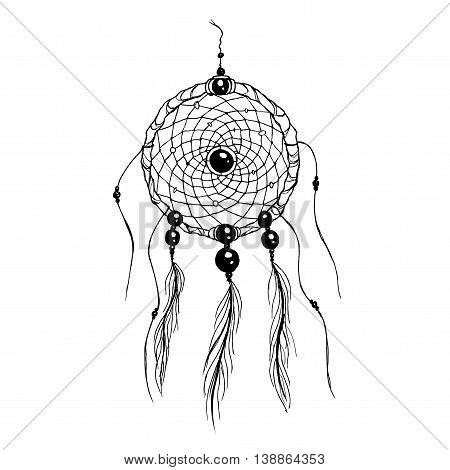 Dreamcatcher. Black and white whiteboard drawing. Hand drawn vector stock illustration.
