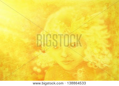drawing of little golden light angel face on abstract background.