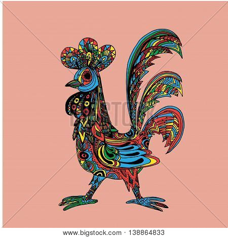 Decorative cock. Hand drawn vector stock illustration. Colorful image. Year 2017 symbol.