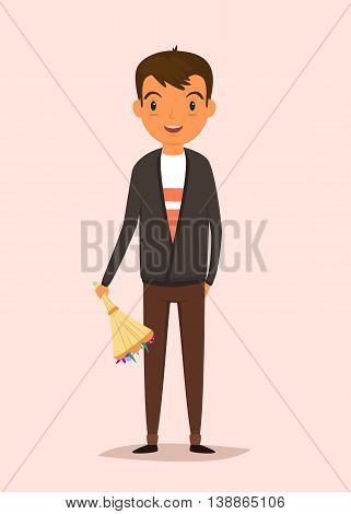 Vector illustration. Man holding a bouquet of flowers and smiling. Flat style