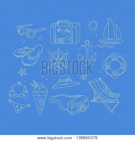 Summer Travel Related Object Collection Hand Drawn Simple Vector Illustration Is Sketch Style