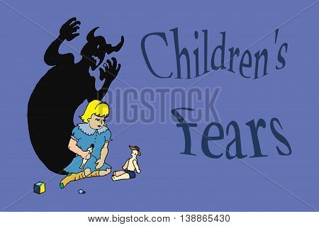 Children fear, shadow on the wall. Hand drawn vector stock illustration.