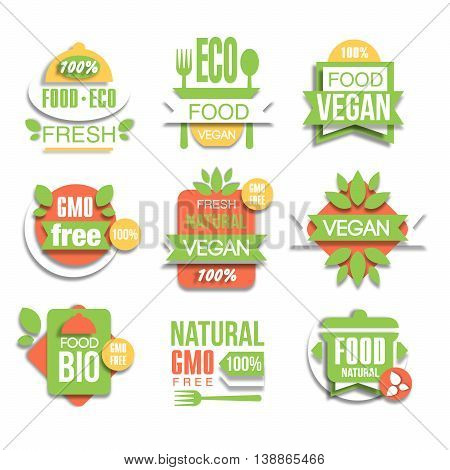 Healthy Vegan Organic Food Promo Signs Set, Flat Vector Graphic Design In Green And Red Color Logo Collection