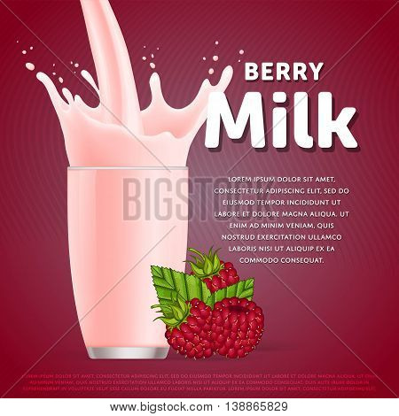 Raspberry sweet milkshake dessert cocktail glass fresh drink in cartoon vector illustration. Fruit milk splash. Milk cocktail dessert. Delicious drink. Glass of fruit milkshake. Sweet milk drink. Milk splash in a glass. Milkshake.