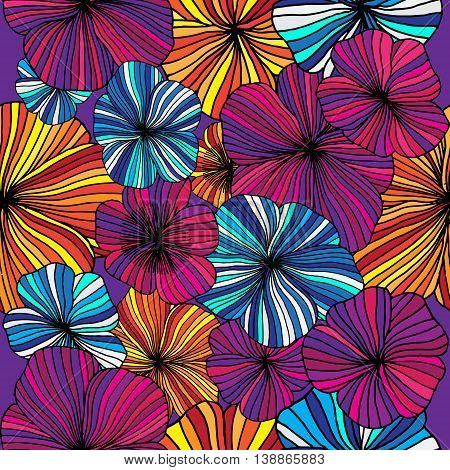 Set of Vectorized Flowers. Hand drawn vector stock illustration. Seamless background pattern.