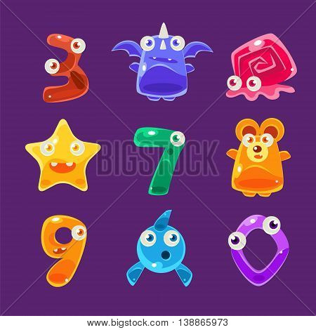 Digit Shaped Animals And Other Jelly Creatures Set Of Bright Glossy Drawings In Fantastic Childish Style On Dark Background
