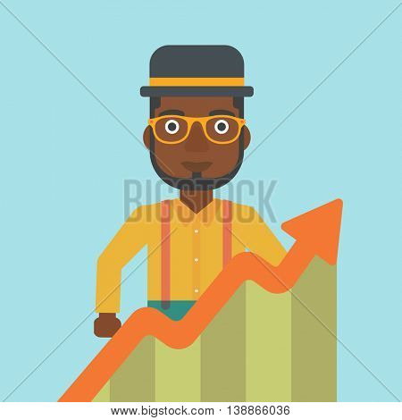 An african-american young businessman standing behind growing chart. Successful business concept. Vector flat design illustration. Square layout.
