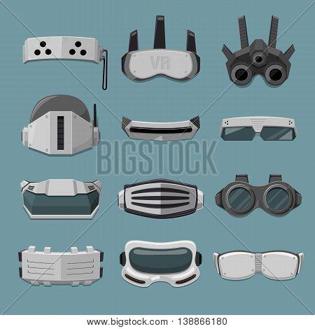 Robotic High Tech goggles Collection - vector illustration