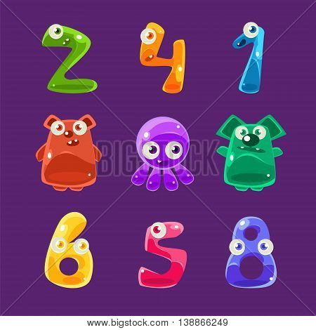 Numbers Shaped Animals And Other Jelly Creatures Set Of Bright Glossy Drawings In Fantastic Childish Style On Dark Background