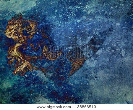 abtract background with ocean mermaid drawing and blue spotted pattern